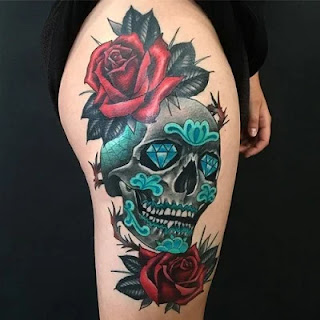 skull tattoo designs and ideas on thigh