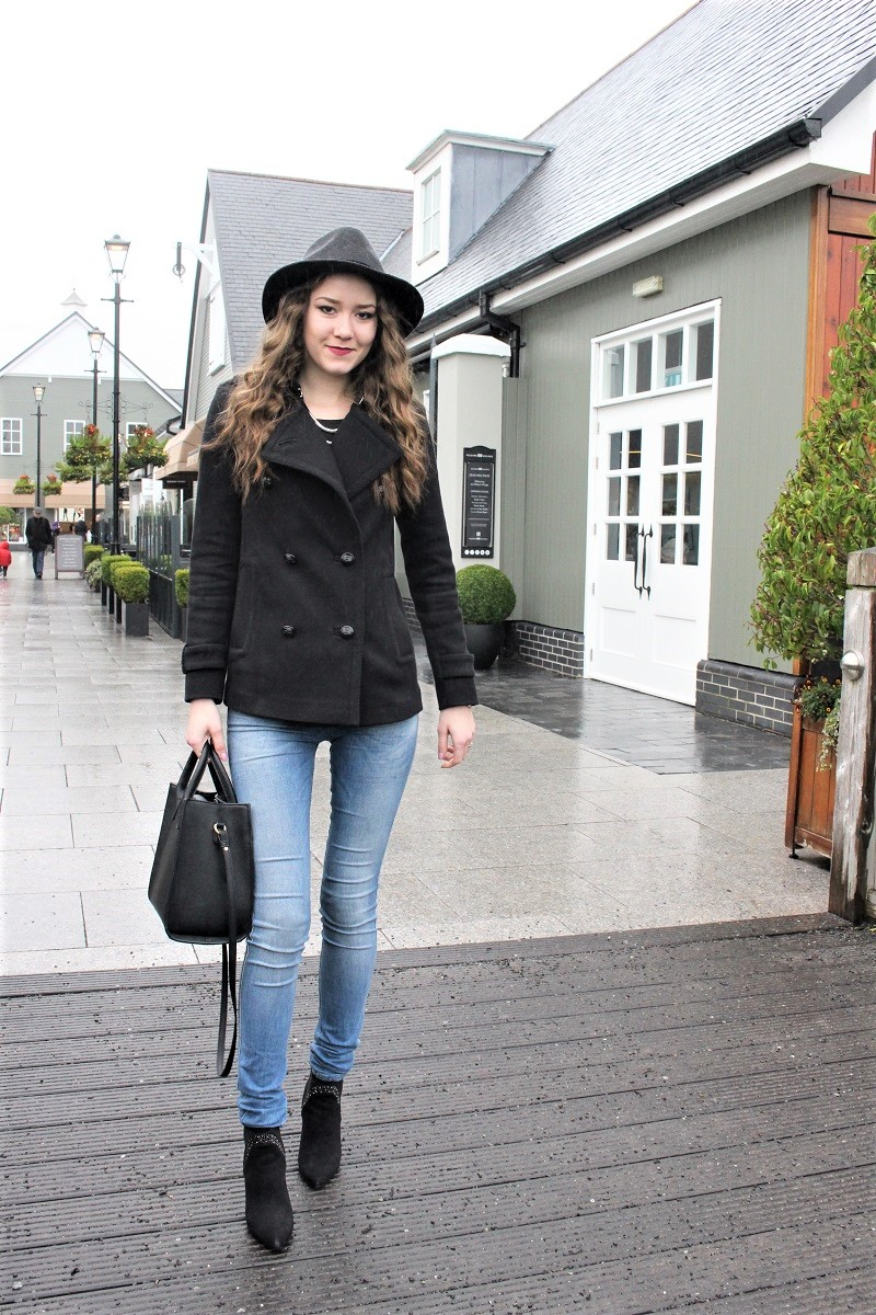 pea jacket with jeans