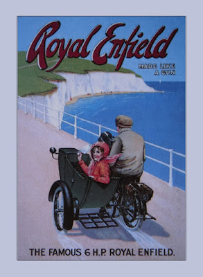 Vintage illustration of a Royal Enfield with sidecar.