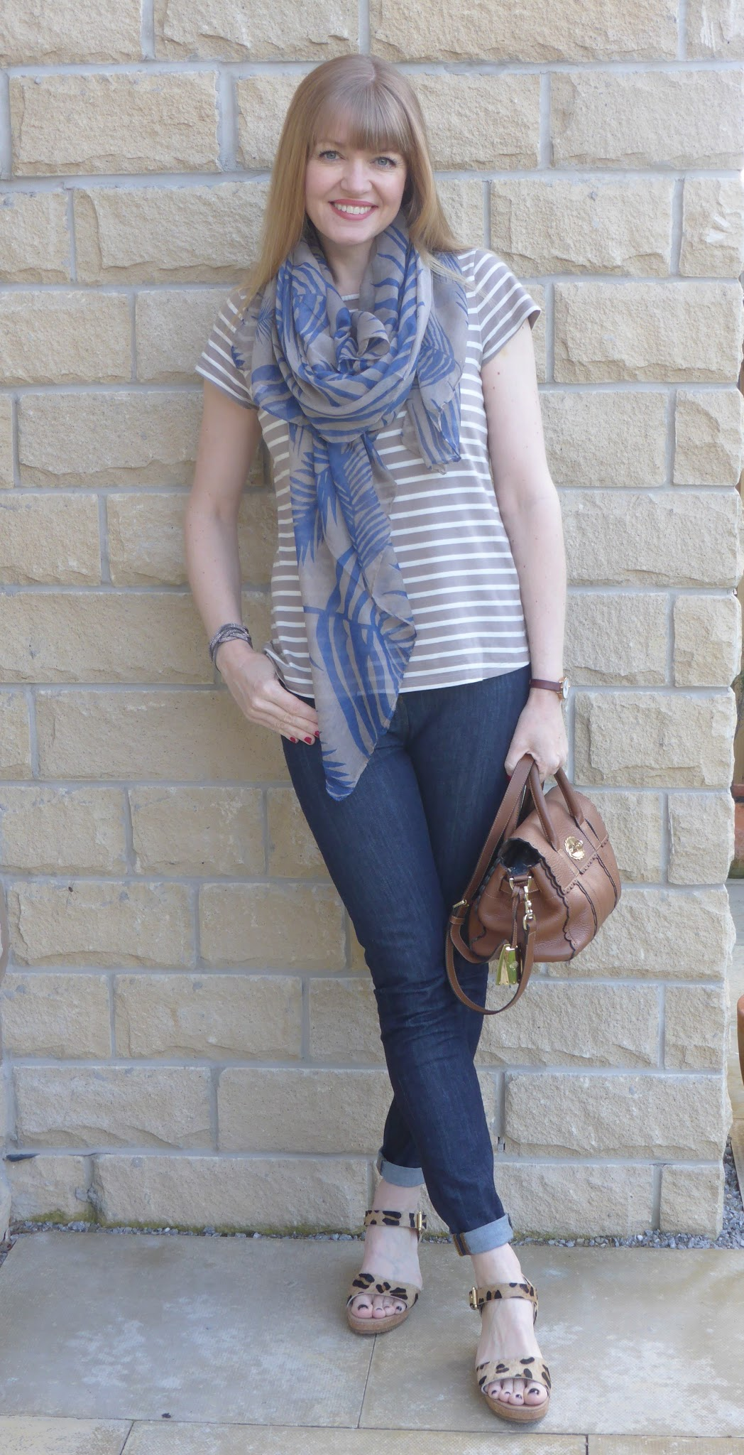 54a213f915c4 Over 40 fashion blogger, What Lizzy Loves wearing Boden short-sleeved  breton with Boden
