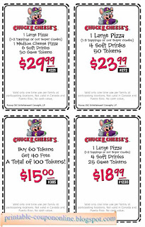 Follow Chuck E. Cheese to fun and use your Chuck E. Cheese promo codes to save money on a family day out or a birthday party your child will love. You'll find pizza, salads, sandwiches and desserts along with lots of games and entertainment to keep the kids busy. Sign up for Chuck E. Cheese printable coupons and see what's in store for you/5(8).