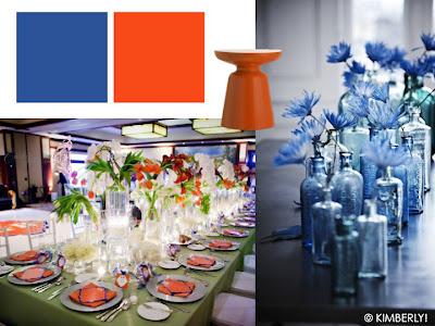 trendkleuren herfst 2012 - Tango tangerine en olympian blue van Pantone