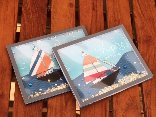 Both shaker cards with sail boats