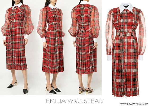 Kate Middleton wore Emelia Wickstead Anni tartan pleated midi dress
