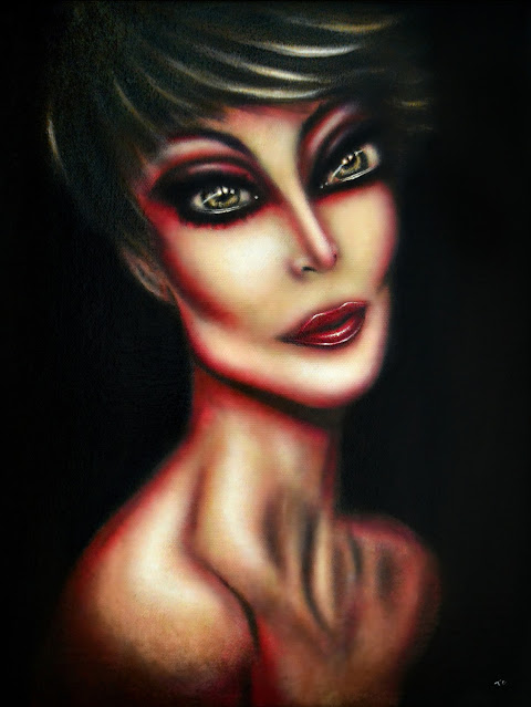 painting celebrity kris jenner with a seductive in a black background by tiago azevedo a lowbrow pop surrealism artist