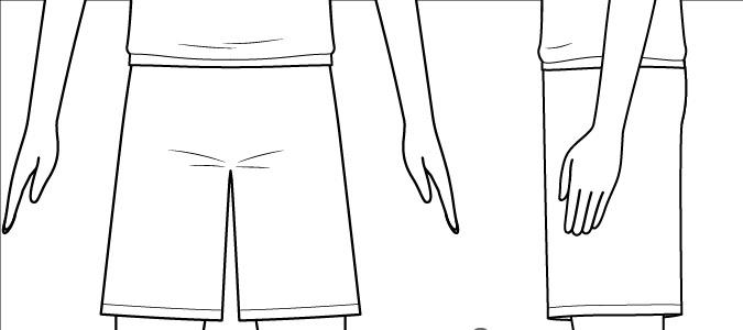 Detail dan lipatan anime boy shorts