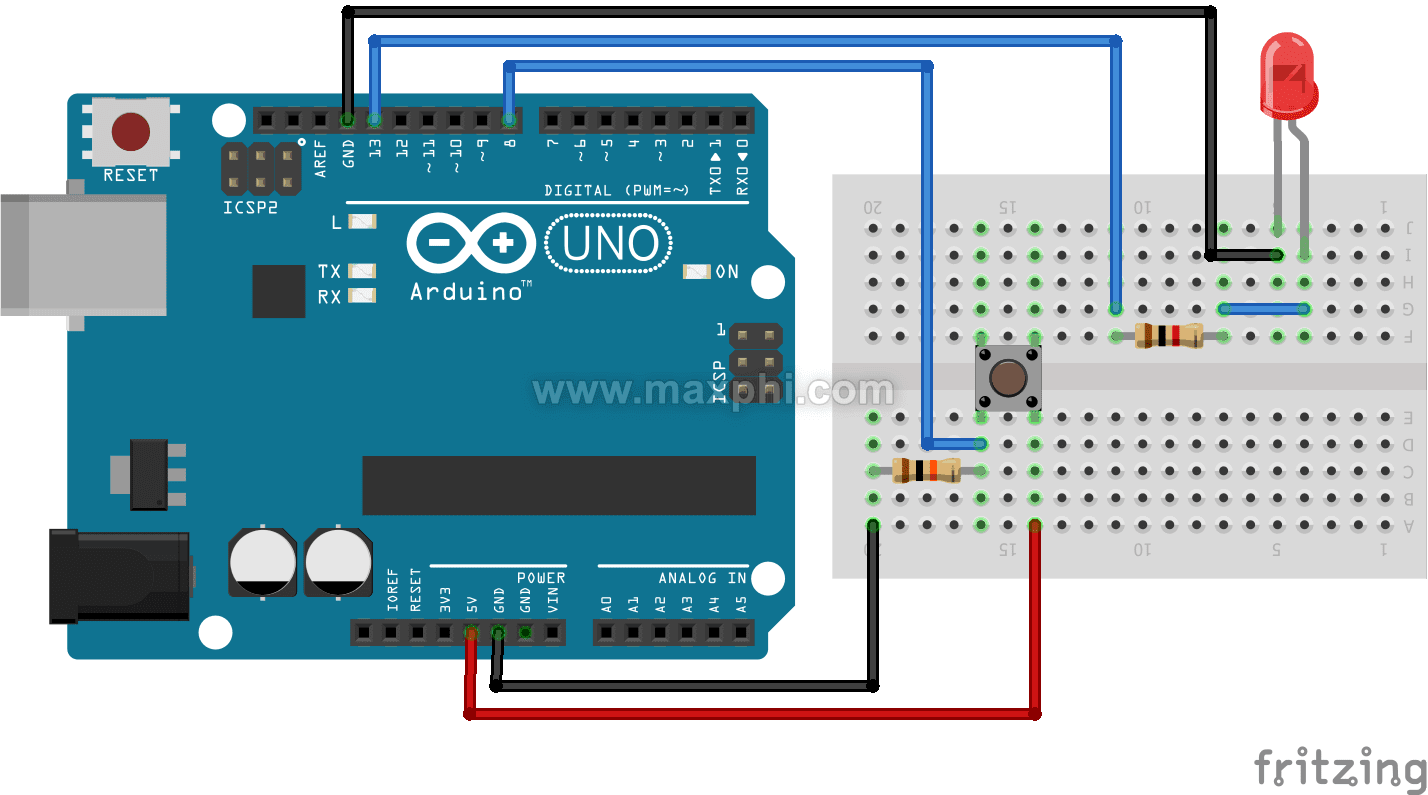 Arduino Push Button Switch Maxphi Lab Together With Wiring Diagram On Now The Complete Circuit Is Like This Connected At Digital Pin 8 For Input Visit More And