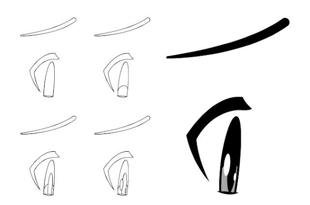 Tampilan sisi mata anime yang malu