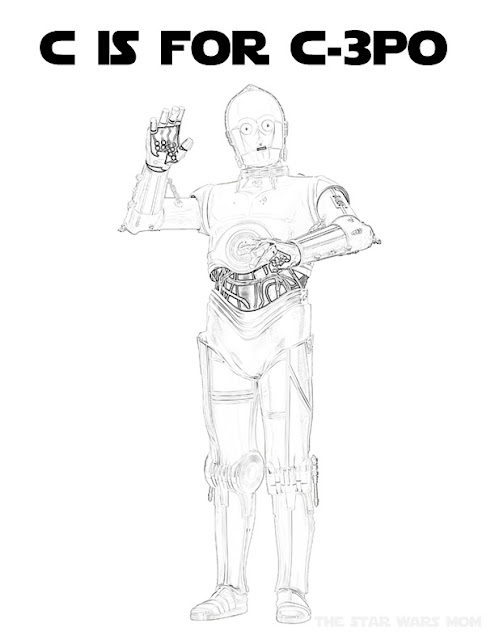 Star Wars Free Alphabet Coloring Page - Letter C is for C-3PO