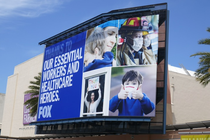 Thanks essential workers healthcare heroes Fox billboard