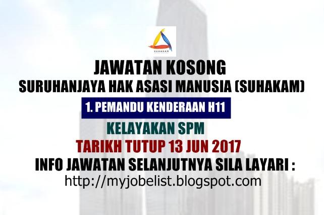 Jawatan Kosong Suruhanjaya Hak Asasi Manusia (SUHAKAM) Jun 2017