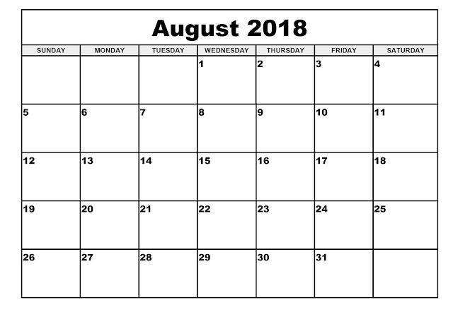 August 2018 calendar USA , UK
