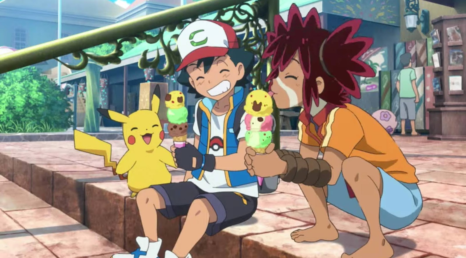 Ash, Pikachu, and Coco