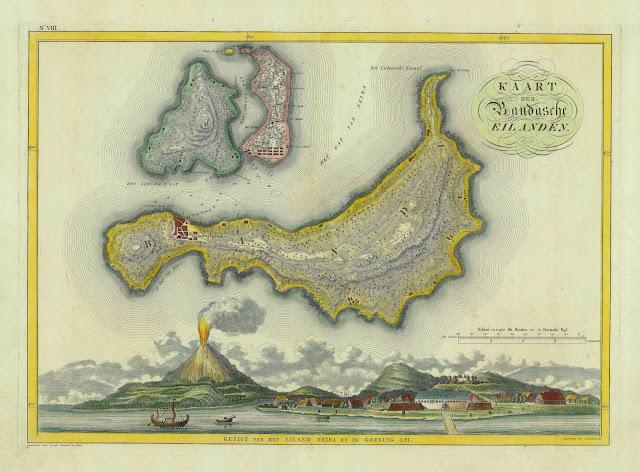 Peta kuno Pulau Banda, dibuat oleh Cornelis van Baarsel (1761-1826)