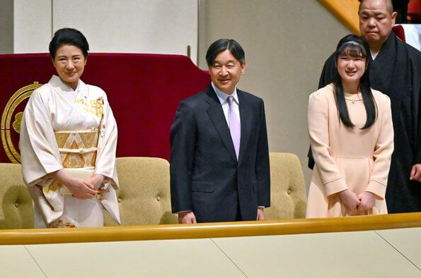 The 58th Agriculture, Forestry and Fishery Festival Awards. Emperor Naruhito, Empress Masako and Aiko visited Ryogoku Kokugikan