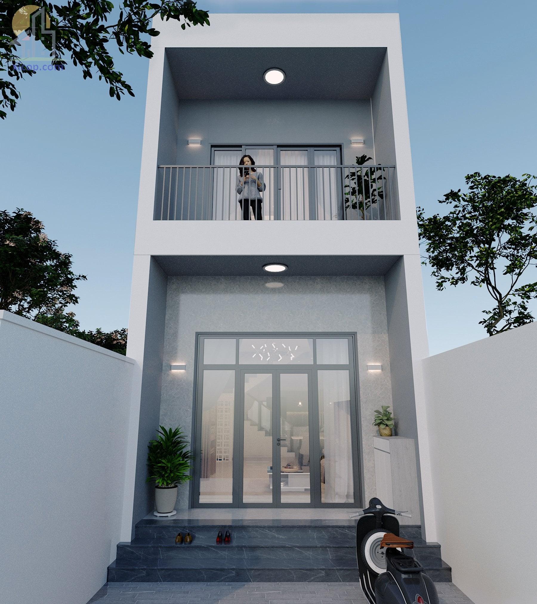 Mẫu nhà ống 2 tầng mặt tiền 4m thiết kế đẹp có sân thượng