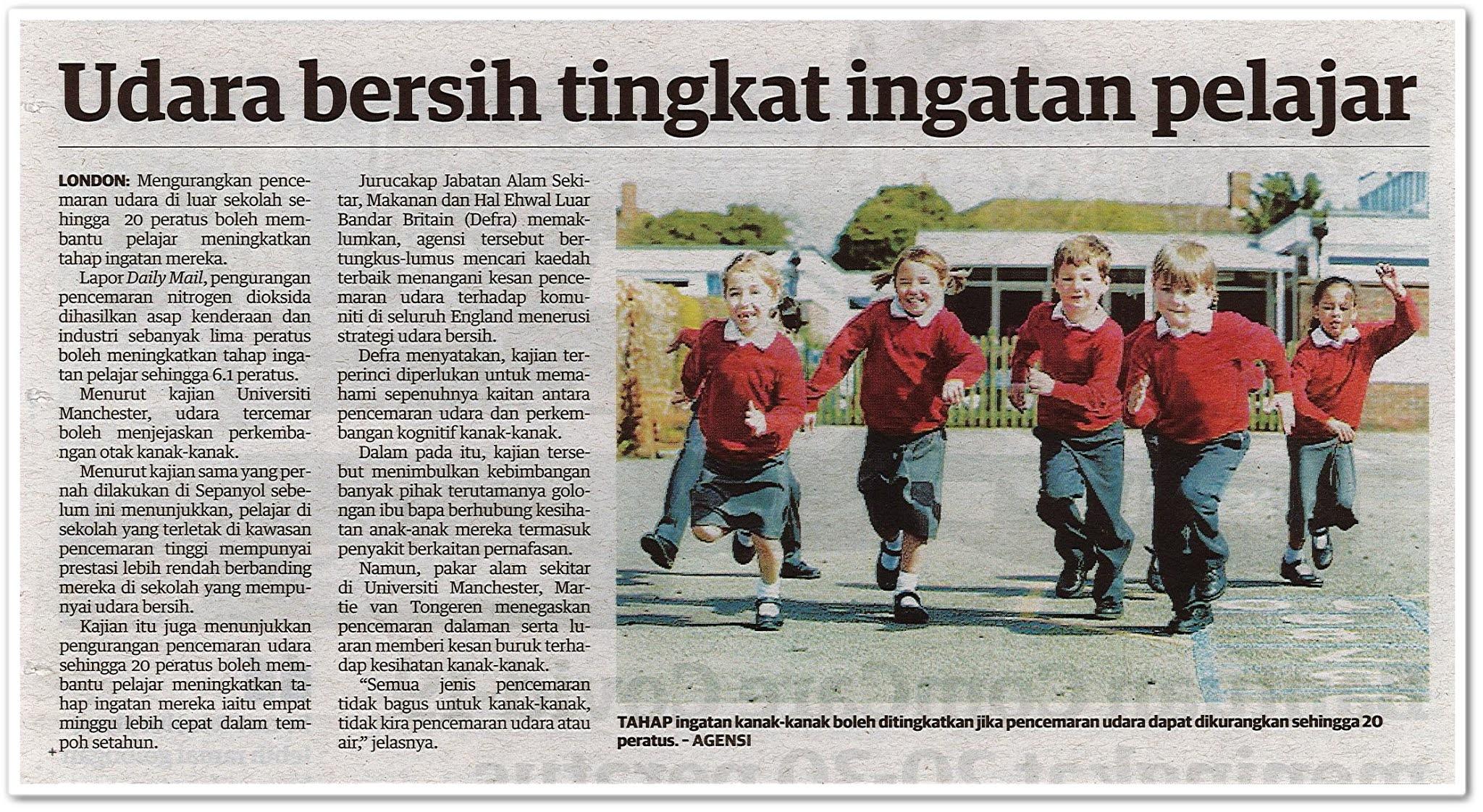 Udara bersih tingkat ingatan pelajar - Keratan akhbar Utusan Malaysia 10 Oktober 2020