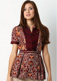 Model Kedua Baju Batik atasan Wanita lengan pendek