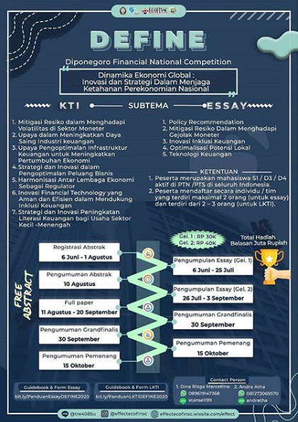 Lomba Karya Tulis Ilmiah DEFINE Nasional 2020 di Universitas Diponegoro
