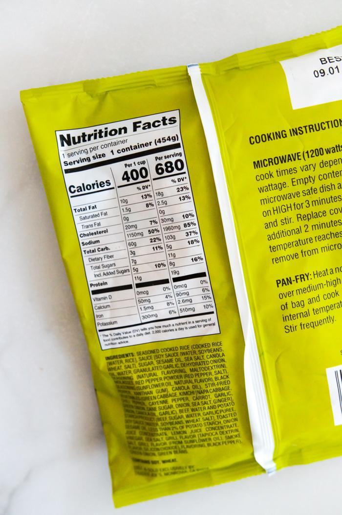 Trader Joe's Bulgogi Beef Fried Rice Nutrition Info