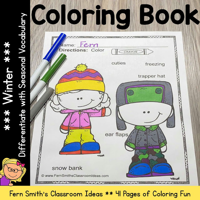 Winter Coloring Pages with Differentiated Seasonal Vocabulary  #FernSmithsClassroomIdeas