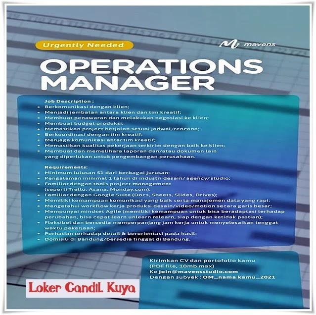 Info Loker Operations Manager Mavens