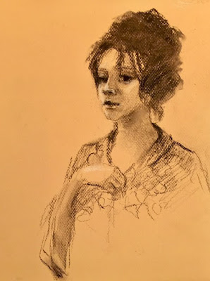 charcoal portrait drawing of young woman with hesitant expression on colored paper