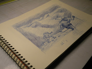 Sketch Bad weather mountain illustration