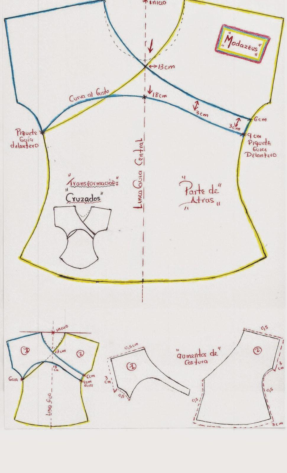 patrones de blusa cruzadas para niñas