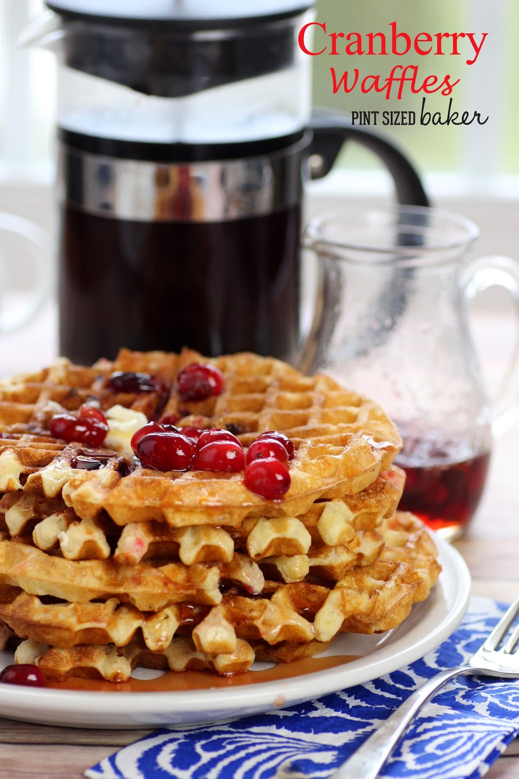 Sweet and Tart Cranberry Waffles are a seasonal favorite. Make up a big batch!