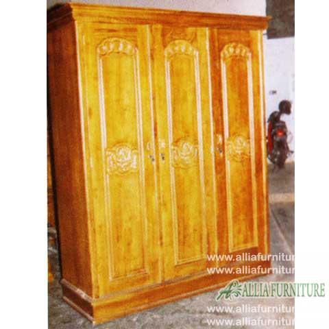 lemari baju kayu jati 3 pintu barcelona