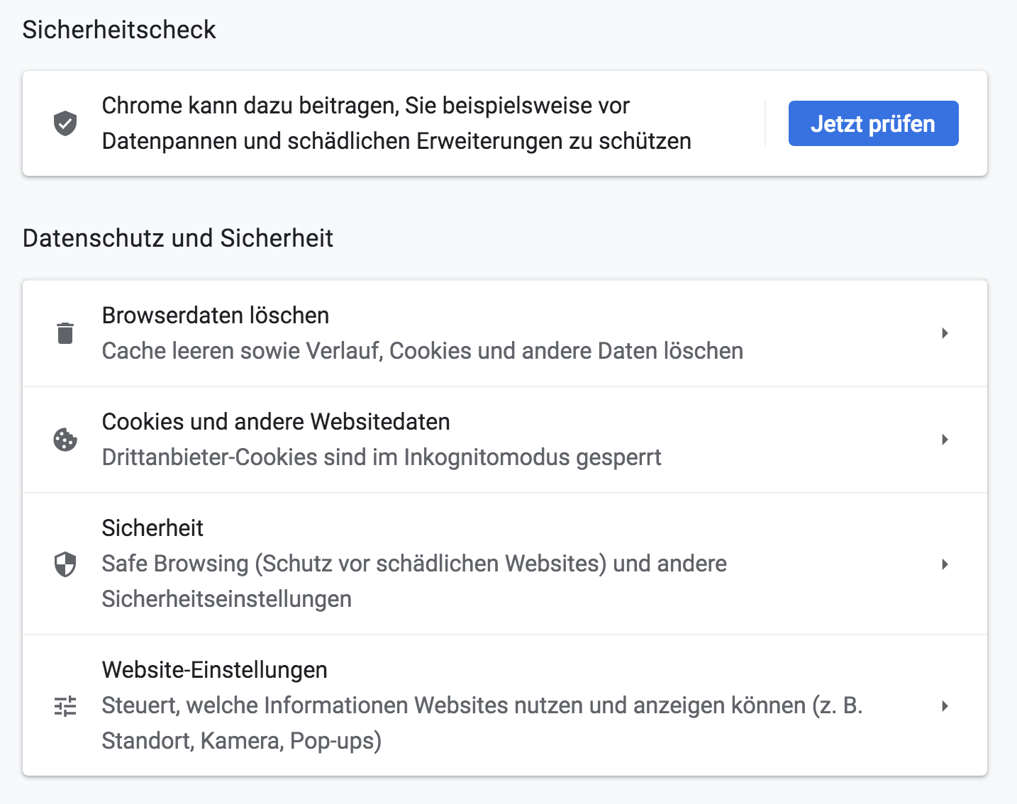 Screenshot des Sicherheitschecks in Chrome