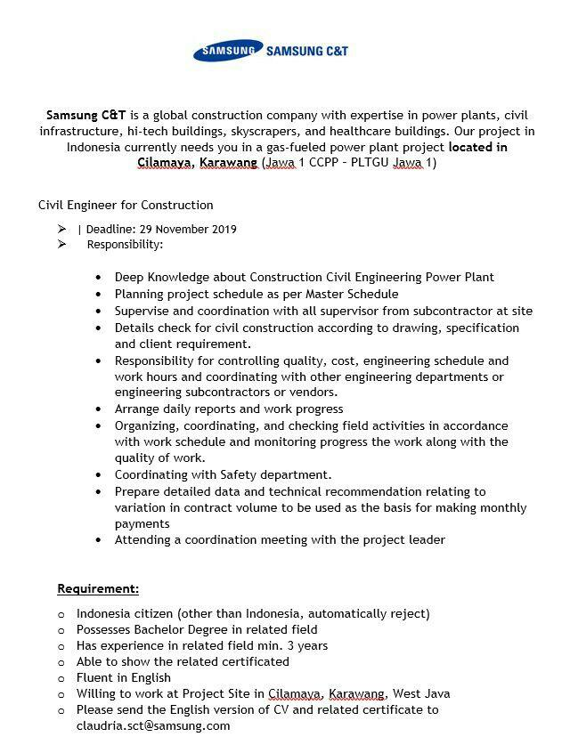 Informasi Lowongan Kerja PT. Samsung C&T
