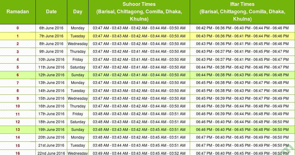 Self Made Calendar 2016 : Ramadan calendar of bangladesh with prayer times