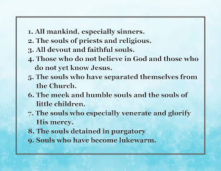 Nine intentions for the nine days of the divine mecry novena given to Saint Faustina