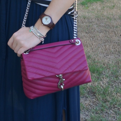 navy maxi skirt and Rebecca Minkoff Edie small crossbody bag in magenta | awayfromblue