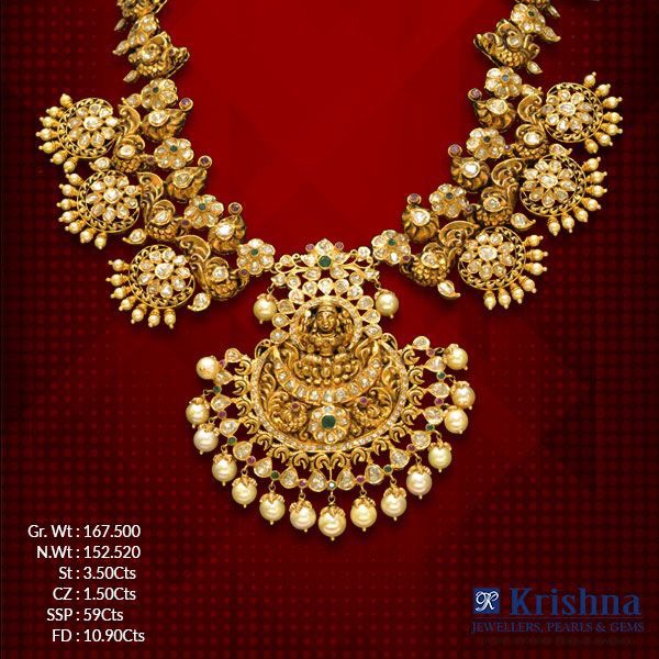 Nakshi Work Lakshmi Peacock Necklace
