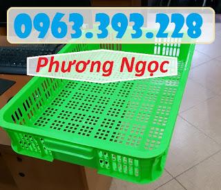 Sọt đựng hàng trong siêu thị, sọt rỗng cao 10, sóng nhựa HS010 61x42x10