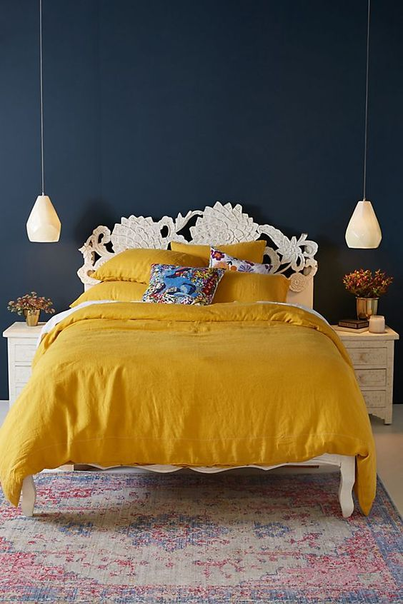Yellow Ochre is The It Color Of The Summer-design addict mom #bedroom