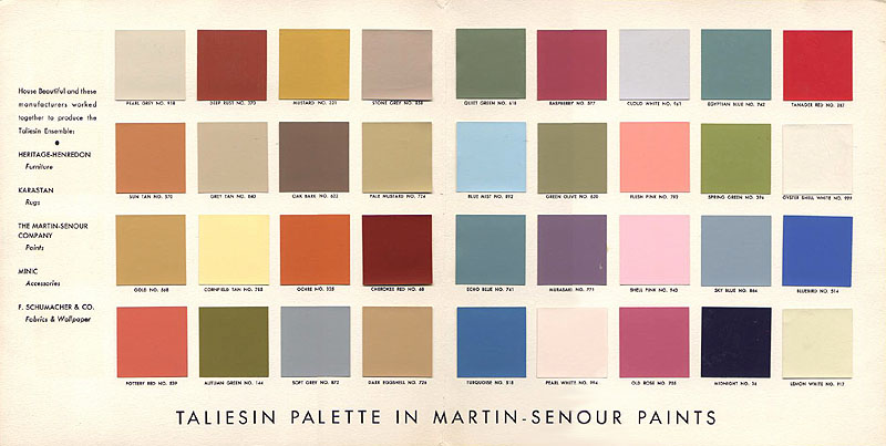 And These Are The Frank Lloyd Wright Selected Paint Colors Searching At Martin Senour S