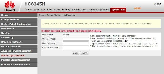 Masuk ke halaman depan index dari modem wifi indihome.