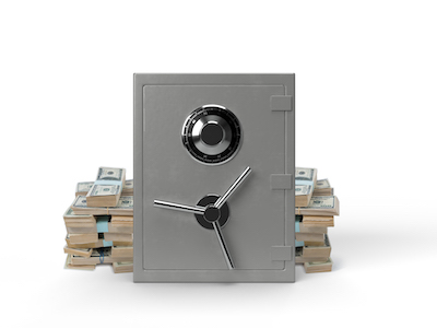 3D Closed safe front view with money