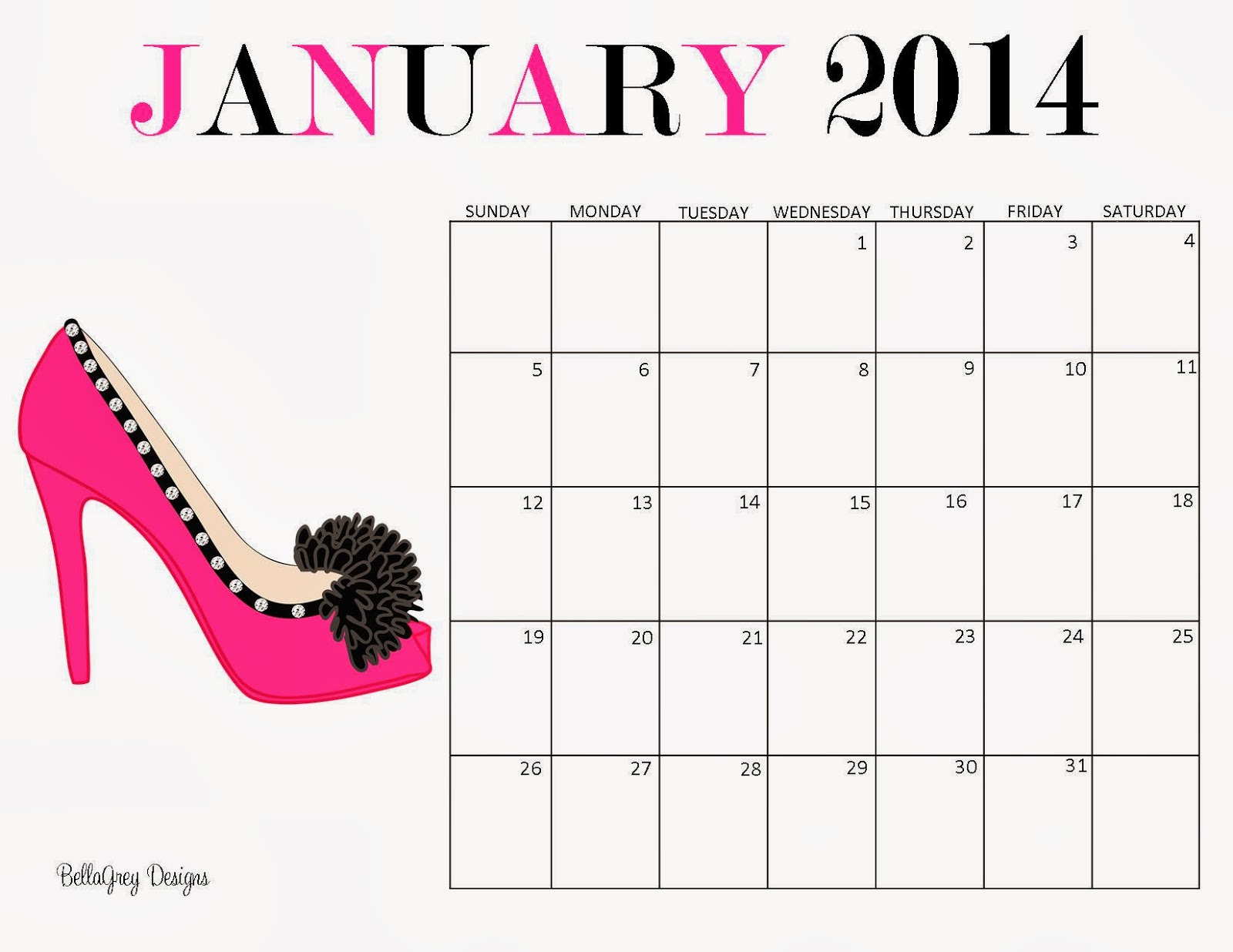 Bellagrey designs free printable 2014 monthly calendar for 4 month calendar template 2014