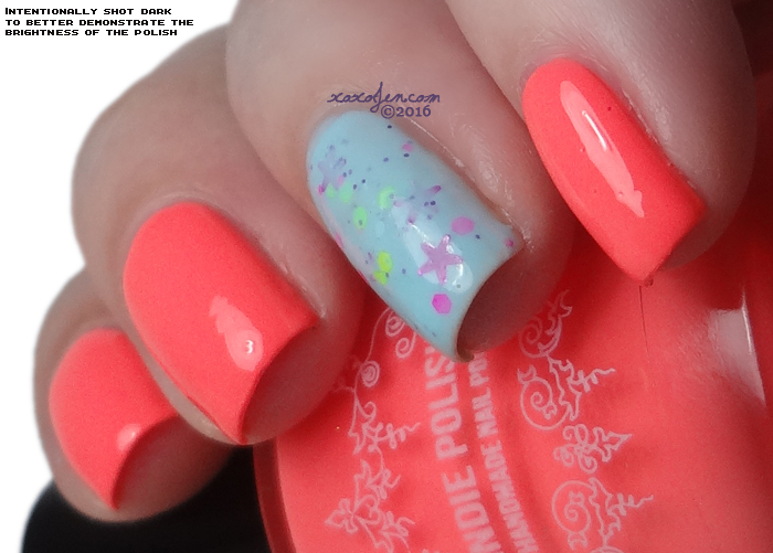 xoxoJen's swatch of My Indie Polish Neon Coral