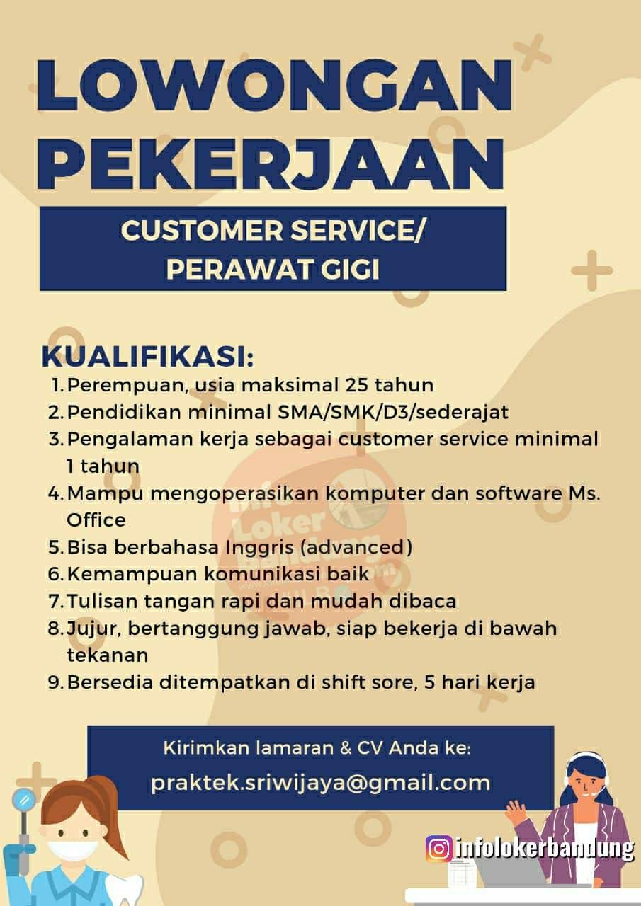 Lowongan Kerja Customer Service / Perawat Gigi Bandung Mei 2021