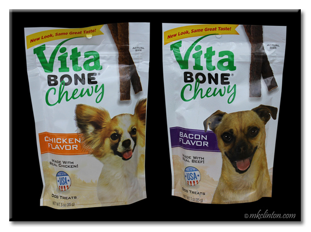 Bag of chicken Vita Bone Chewy and bag of bacon Vita Bone Chewy