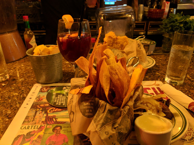Plantain chips and sangria from Havana 1957 on Española Way in Miami South Beach