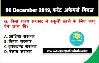 Daily Current Affairs Quiz in Hindi 06 December 2019