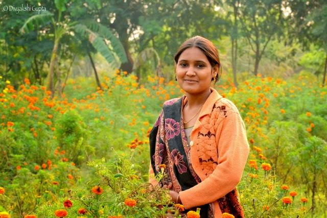 poonam in her flower farm Navratri Living Goddess