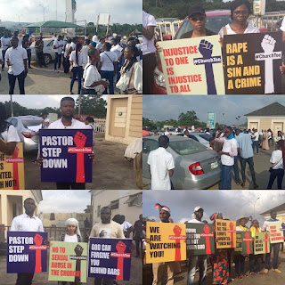 #ChurchTooMovement protesters gather in Abuja, Lagos, ahead of their match to #COZA.
